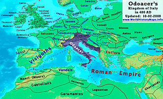Western Roman Empire - Odoacer's Italy in 480 AD, following the annexation of Dalmatia