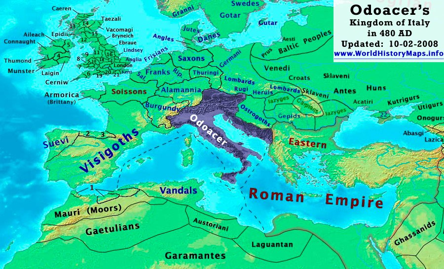 The Kingdom of Italy (under Odoacer) in 480 AD.