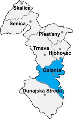 Locatisation du district de Galanta dans la région de Trnava (carte interactive)