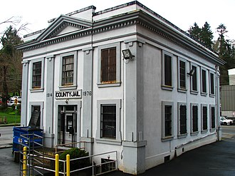 The old Clatsop County Jail, where the scene of the Fratelli jailbreak took place. The site is now home to the Oregon Film Museum. Old Clatsop County jail - Astoria Oregon.jpg