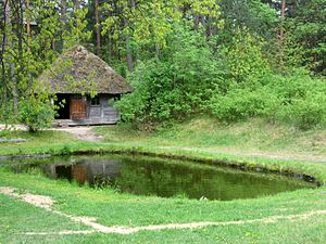 "Sauna - Traditional Latvian sauna from ""Spirēni"", Nīca, Courland built in 1862, currently located at the Latvian Ethnographic Open Air Museum"