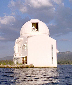 Old dome on the main BBSO building viewed from Big Bear Lake