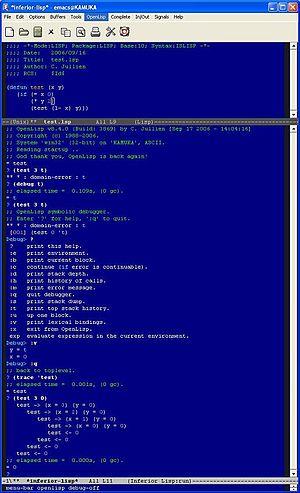 OpenLisp - Image: Open Lisp runnning inside GNU Emacs