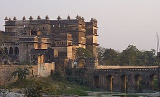 Orchha Fort complex historical monument site in Orchha, Madhya Pradesh, India