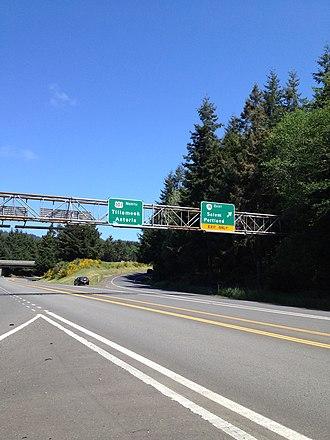 Oregon Route 18 - Oregon 18 interchange from US 101 north in Otis Junction