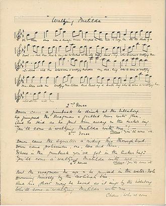 Waltzing Matilda - Image: Original Waltzing Matilda manuscript