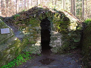 Ossian's Cave front door at The Hermitage, Sco...