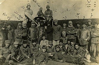 Ahmet Ali Çelikten - Ottoman Pilots in 1914/1915 next to a Blériot XI-2 monoplane. Ahmet Ali Çelikten can be seen next to the propeller..