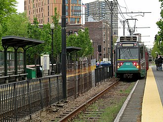 Outbound tram at MFA station.JPG