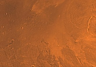 Amazonis quadrangle - Image of the Amazonis Quadrangle (MC-8). The central part contains Amazonis Planitia and the eastern part includes the western flank of the largest known volcano in the Solar System, Olympus Mons.