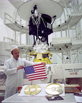 Voyager Golden Record - Gold plating at the James G. Lee Record Processing center in Gardena, California (left), and preparation for the record's packaging before the launch of Voyager 2 (right).