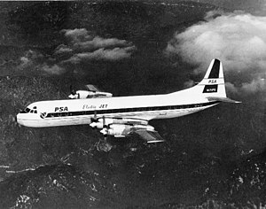 Pacific Southwest Airlines - A Lockheed L-188 Electra of PSA in flight around 1959.