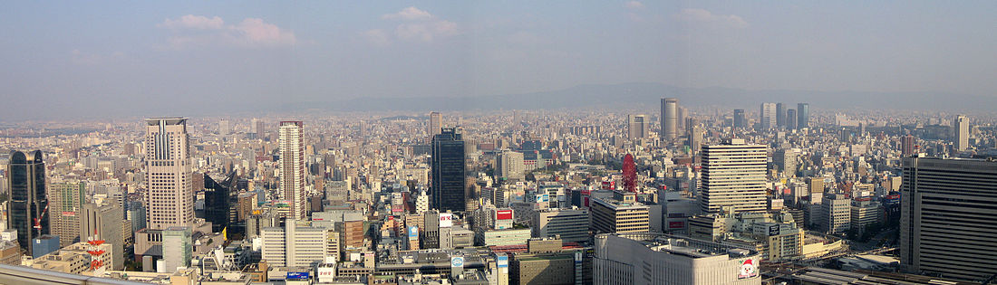 Panoramo de Osako el Sky Building en Umeda.