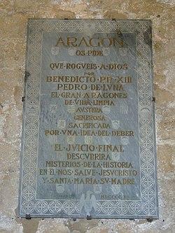 Lapide dedicata all'antipapa Benedetto XIII nel castello di Peñíscola, Spagna