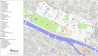 Wikitravel - Annotated map of the 1st arrondissement of Paris generated for a guide to travel of Wikitravel from OpenStreetMap data