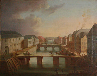 Frederiksholms Kanal - A scene from Frederiksholm Canal in 1794, painted by Christian August Lorentzen