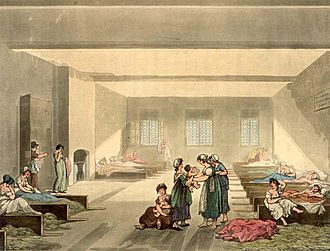 Vagrancy - The Pass Room at Bridewell, c. 1808. At this time paupers from outside London apprehended by the authorities could be imprisoned for seven days before being sent back to their own parish.