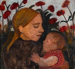 Fille avec petit enfant