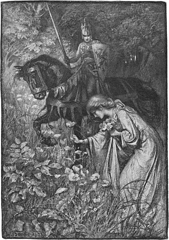 Uther Pendragon - Uther, on horseback and disguised as Pelleas, watches Igraine picking flowers in Uther and Igraine by Warwick Deeping, illustrated by Wladyslaw T. Benda