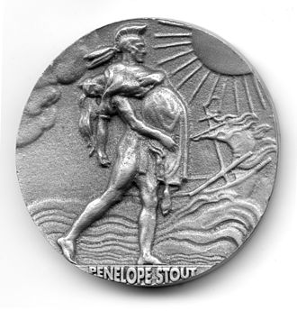 Penelope Stout - Penelope Van Princis Stout Commemorative Coin - Recto - depicting the scene of Penelope's first rescue by an old Indian Chief after surviving a shipwreck and the ensuing attack on the beach by the indigenous inhabitants after being abandoned by their fellow shipmates.