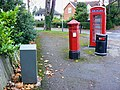 Penfold pillar box, K6 telephone box, a litter bin and a grey box, Evesham Road, Cheltenham - geograph.org.uk - 1569563.jpg