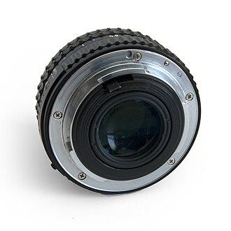 Pentax K-mount - Pentax A 50 mm lens displaying the KA-mount