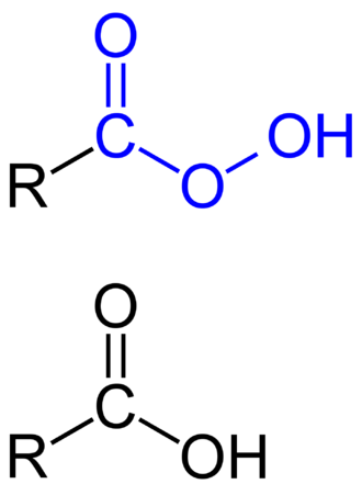 Peroxy acid - General formulae of an organic peroxy acid (top) compared with a carboxylic acid (bottom).