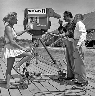 WFLA-TV - Circus performers looking at the new Kaleidoscope camera used by WFLA-TV to film a documentary about the Cristiani family.