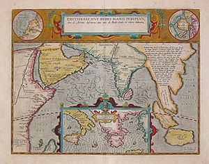 Periplus of the Erythraean Sea - 17th century map depicting the locations of the Periplus of the Erythraean Sea.