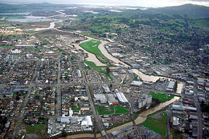 Petaluma River - The river flowing through Petaluma. View is to the southeast.