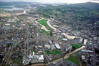 Petaluma, California - Aerial view of Petaluma, Cal. View is to the southeast