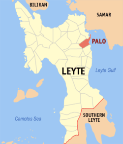 Map of Leyte showing the location of Palo