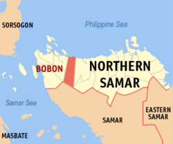 Map of Northern Samar with Bobon highlighted