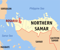 Map of Northern Samar with Rosario highlighted