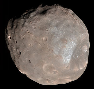 Phobos 1 - Phobos, moon of Mars and primary object of study for the Phobos 1 spacecraft.