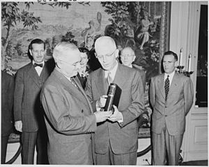 "The Papers of Thomas Jefferson - President Truman at the Library of Congress receiving the first copy of Volume One of ""The Papers of Thomas Jefferson""."