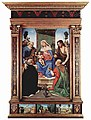 Piero di Cosimo - Madonna and Child Enthroned with Ss. Peter, John the Baptist, Dominic, and Nicholas of Bari.jpg