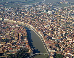 Historic centre of Pisa on river Arno