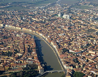 Pisa - Historic centre of Pisa on river Arno