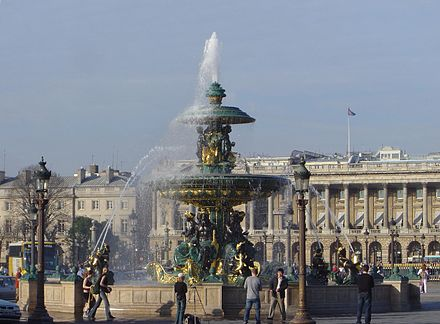 The Fountain of River Commerce and Navigation, one of the two Fontaines de la Concorde (1840) on the Place de la Concorde. Behind: the Hotel de Crillon; to the left: the embassy of the United States. Place de la Concorde fountain dsc00774.jpg