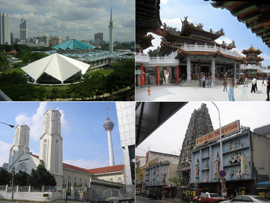 Clockwise from top left: Masjid Negara, Thean Hou Temple, Sri Mahamariamman Temple, St. John's Cathedral Places of worship in KL.png