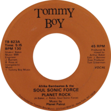 Planet rock by afrika bambaataa and the soul sonic force US 7-inch vocal side (orange label).png