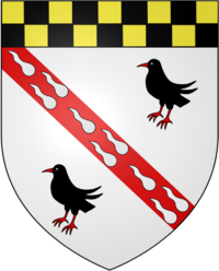 Family crest with two black birds