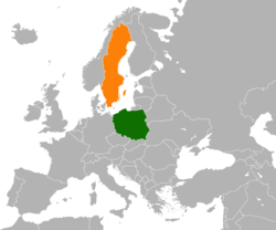 Map indicating locations of Poland and Sweden