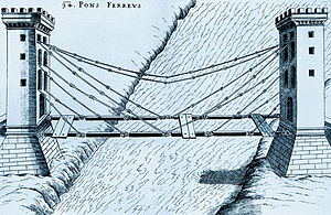 Cable-stayed bridge - Cable-stayed bridge by the Renaissance polymath Fausto Veranzio, from 1595/1616