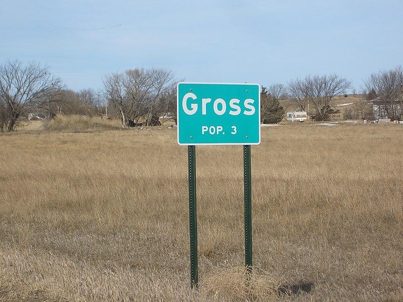 Population sign, Gross, Nebraska, USA