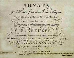 Violin Sonata No. 9 (Beethoven) - Front page of an original edition of the Kreutzer Sonata