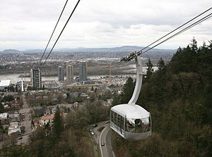 South Waterfront - Portland Aerial Tram car descends towards the rising South Waterfront district in Portland, Oregon