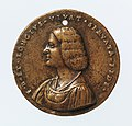 Portrait medal of an Unknown Lady (obverse); A Kneeling Man with a Basket of Fruit, Cupid, and the Caduceus of Mercury (reverse) MET DP-1241-017.jpg