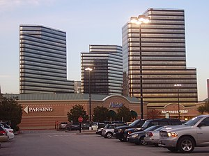 Post Oak Central - Post Oak Central consists of the three striped buildings in this image